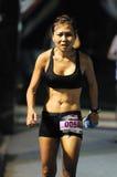 变老的抛光工马拉松中间名超妇女 库存照片