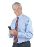 变老的生意人电池中间名电话 库存图片