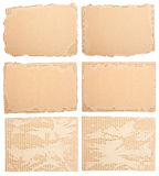 变老的纸板的收集 免版税库存图片