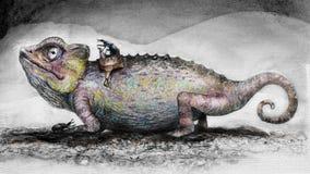 变色蜥蜴的手拉的图象 免版税库存图片