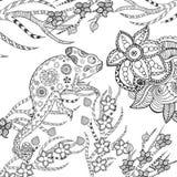 变色蜥蜴在幻想庭院里 免版税库存照片