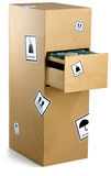 变褐机柜被包裹的归档纸张 库存图片