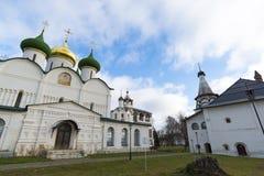 变貌大教堂在苏兹达尔的圣Euthymius修道院建造16世纪 俄罗斯旅行金黄圆环  库存照片