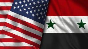 叙利亚和美国旗子- 3D例证两旗子 皇族释放例证