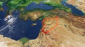 叙利亚和边界,物理地图中东地图  库存例证