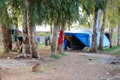叙利亚土耳其边界在Reyhanli -非法难民营 库存照片