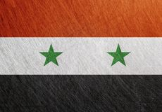 叙利亚旗子,葡萄酒,减速火箭,被抓, 库存照片