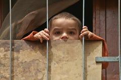 年轻叙利亚男孩通过他的房子篱芭看在Homs 库存图片