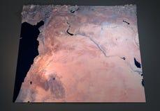 叙利亚,卫星看法,地图,部分3d,中东 免版税图库摄影