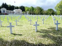叙雷讷美国公墓和纪念品,在法国,欧洲 免版税库存照片