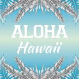 口号喂夏威夷蓝色背景 免版税库存图片