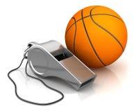 口哨和篮球 库存照片