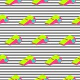 口哨样式重复无缝的镶边流行艺术氖上色纹理 库存例证