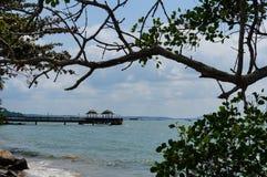 从口岸乌敏岛,新加坡的一个看法 免版税库存照片