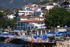 口岸和游艇在Kas 旅游,城市 图库摄影