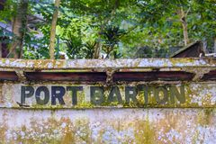 口岸在一条老小船的巴顿标志 免版税图库摄影