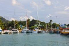 口岸在拉迪格岛,塞舌尔群岛 免版税库存图片