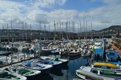 口岸在有它五颜六色的美丽的捕鱼船的圣塞瓦斯蒂安 钓鱼旅行自然 库存图片