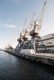 口岸在蓝天背景的货物起重机 海港,装载的起重机在日落 运输 免版税库存图片