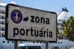 口岸标志在里斯本葡萄牙 免版税库存图片