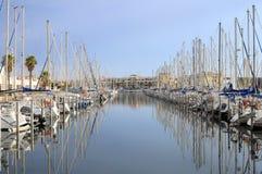 口岸Leucate,法国小游艇船坞  免版税库存照片
