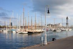 口岸Vell小游艇船坞在巴塞罗那 免版税库存照片