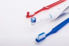 口腔卫生的牙齿产品在白色 库存图片