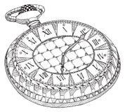 口袋减速火箭的手表 Zentangle传统化了 模式 葡萄酒手表 免版税库存图片