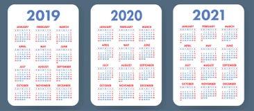 口袋日历2019年2020年, 2021集合 基本的简单的模板 极小 皇族释放例证