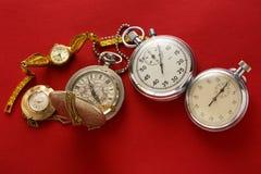 口袋葡萄酒手表和秒表 库存图片