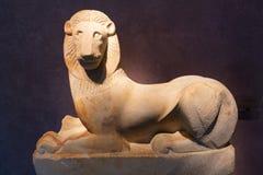 古体石狮子在Kerameikos博物馆,雅典,希腊 免版税图库摄影