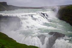 古佛斯瀑布瀑布看法,冰岛夏天 库存照片