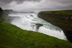 古佛斯瀑布瀑布看法,冰岛夏天 库存图片