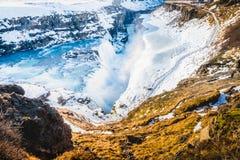 古佛斯瀑布瀑布视图和冬天在winte的Lanscape图片 免版税库存照片