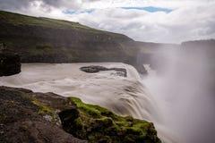 古佛斯瀑布瀑布金黄秋天在冰岛 免版税图库摄影