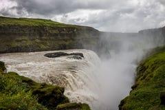 古佛斯瀑布瀑布金黄秋天在冰岛 库存照片