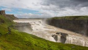 古佛斯瀑布瀑布金黄秋天在冰岛 库存图片