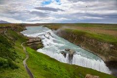 古佛斯瀑布瀑布鸟瞰图Hvita河冰岛西南部斯堪的那维亚 免版税库存图片