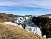 古佛斯瀑布瀑布,彩虹,蓝天,冰岛 免版税库存图片