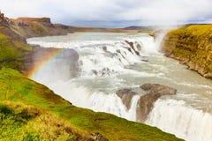 古佛斯瀑布秋天冰岛 免版税库存图片
