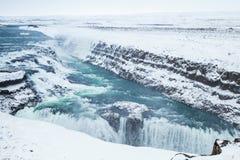 古佛斯瀑布,金黄瀑布在冬天 库存照片