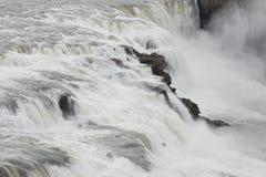 古佛斯瀑布(金黄秋天)瀑布-金黄圈子-冰岛 库存图片
