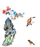 古典中国--花和鸟 免版税库存照片