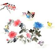 古典中国--菊花和鸟 免版税库存图片