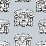 古典希腊语面具的传染媒介样式 图库摄影