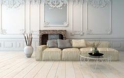 古典淡色的客厅内部 免版税库存照片