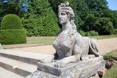 古典狮身人面象雕象 有狮子身体的妇女头 装饰s 库存图片