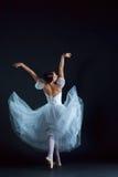古典芭蕾舞女演员的画象白色礼服的在黑背景 库存图片