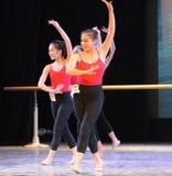 古典芭蕾训练基本的舞蹈培训班 免版税库存照片