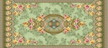 古典花装饰品有绿色纹理背景 免版税库存图片